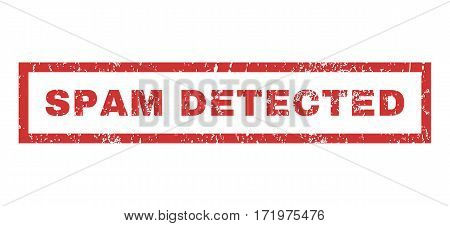 Spam Detected text rubber seal stamp watermark. Caption inside rectangular banner with grunge design and unclean texture. Horizontal vector red ink sticker on a white background.