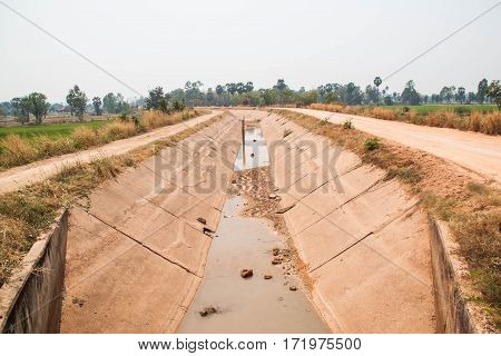 Water diversion canal in dry season, Thailand