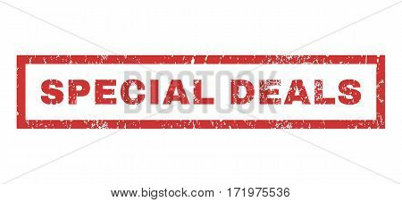 Special Deals text rubber seal stamp watermark. Caption inside rectangular shape with grunge design and scratched texture. Horizontal vector red ink sticker on a white background.