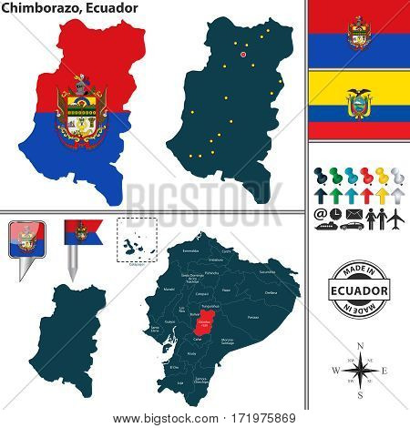 Vector map on Chimborazo - region of Ecuador