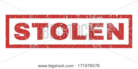 Stolen text rubber seal stamp watermark. Tag inside rectangular shape with grunge design and dust texture. Horizontal vector red ink emblem on a white background.