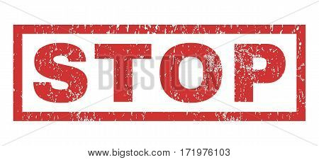 Stop text rubber seal stamp watermark. Caption inside rectangular shape with grunge design and dust texture. Horizontal vector red ink emblem on a white background.