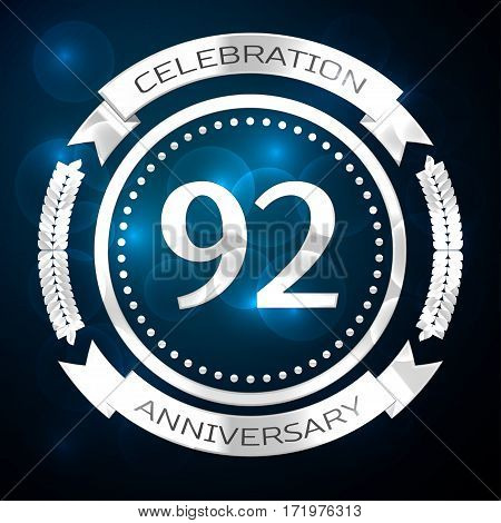 Ninety two years anniversary celebration with silver ring and ribbon on blue background. Vector illustration