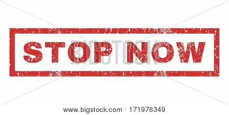 Stop Now text rubber seal stamp watermark. Caption inside rectangular shape with grunge design and dust texture. Horizontal vector red ink emblem on a white background.