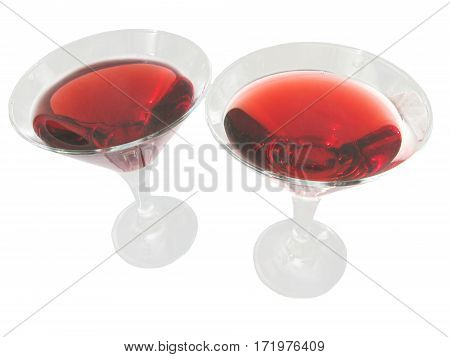 two goblets of red wine alcohol drinks