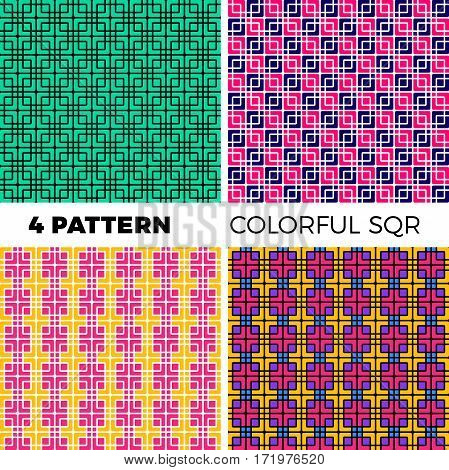 Set Of The Four Seamless Geometric Colorful Pattern Of Squares And Flowing Lines.