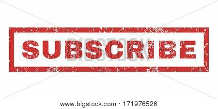 Subscribe text rubber seal stamp watermark. Caption inside rectangular shape with grunge design and unclean texture. Horizontal vector red ink sticker on a white background.