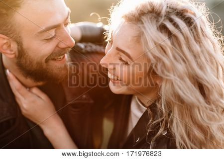 Portrait Of A Man And Girl Kissing
