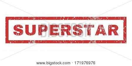 Superstar text rubber seal stamp watermark. Tag inside rectangular banner with grunge design and dirty texture. Horizontal vector red ink sticker on a white background.
