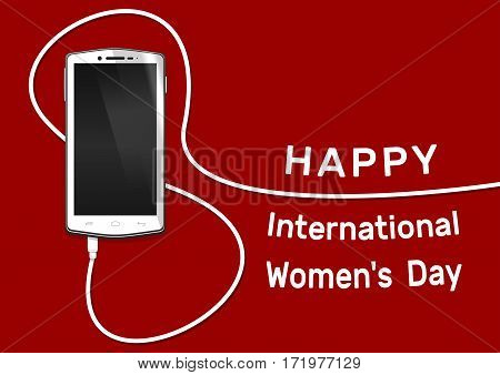 Realistic smartphone, cellphone, mobile phone. Screen off. Phone with line eight wire. 8 March smartphone. Happy International Women's Day card. 8 March banner, background. Vector illustration