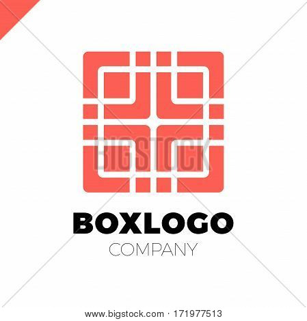 Design Abstract Square Logo Element With Medical Cross In Middle. Crushing Round Rectangle Pattern.