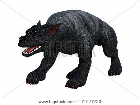 3D Rendering Gargoyle Hound On White
