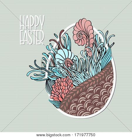 Decorative Card With Easter Egg Like Basket With Flowers In Pastel Colors. Doodle Style.
