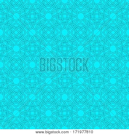 Celtic Seamless Pattern In Medieval Style In Turquoise And Blue Colors. Plexus Background Endless Re