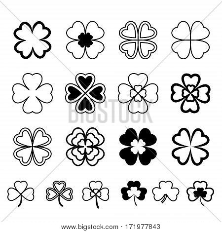 Set Leaf Clover. Three And Four Leaf, Silhouettes, Stylized. St. Patrick's Day. Black On White Backg
