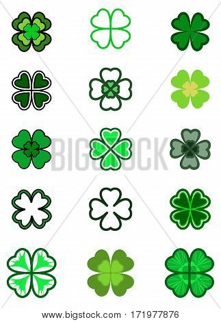 Set Leaf Clover. Four Leaf, Silhouettes, Stylized In Green Colors. St. Patrick's Day, Lucky Symbol