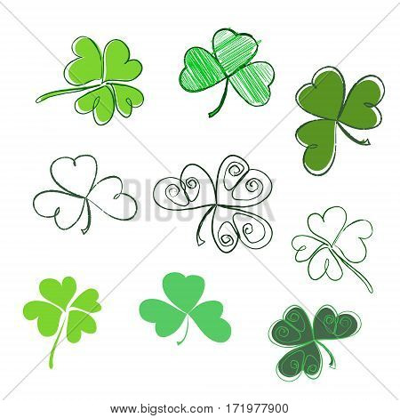 Set Hand-drawn Leaf Clover In Green Colors. Three And Four Leaf, Silhouettes, Doodle, Stylized. St.