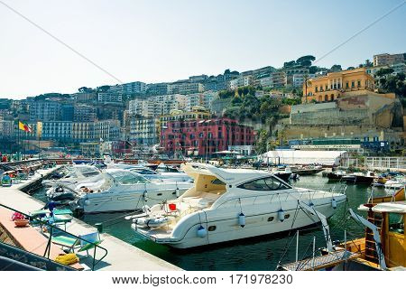 Naples Italy - March 14 2008: Leisure boats in the Posillipo marina