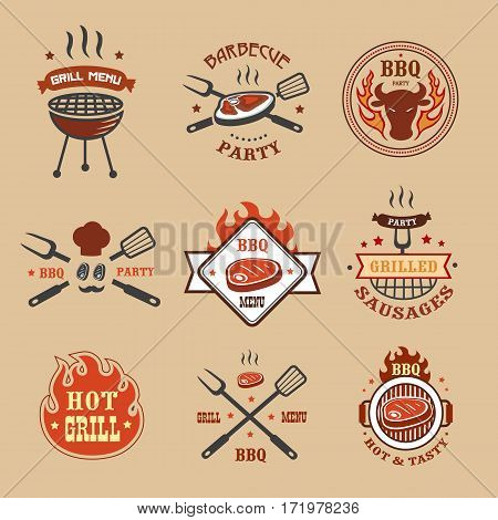 Barbecue, grill labels, badges, logos, emblems, signs, set of templates isolated Bbq restaurant design elements
