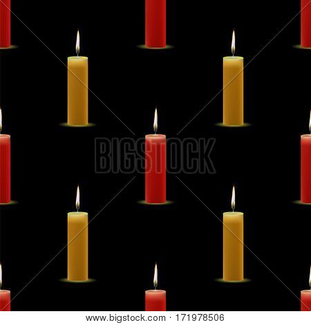 Yellow Red Wax Burning Candles Seamless Pattern on Black Background