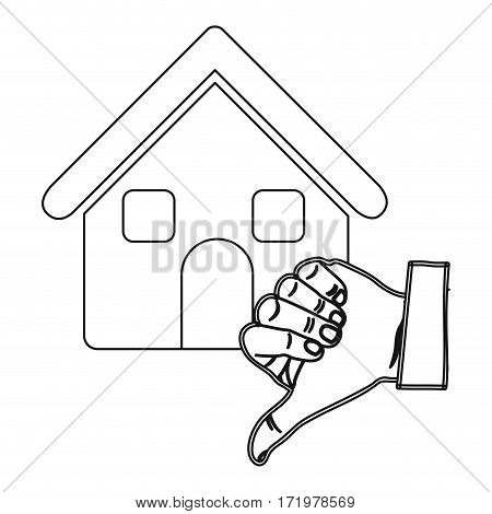 monochrome contour with house and hand thumb down vector illustration