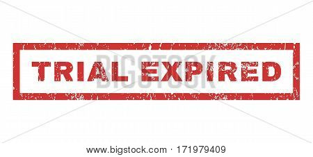 Trial Expired text rubber seal stamp watermark. Tag inside rectangular shape with grunge design and scratched texture. Horizontal vector red ink sticker on a white background.