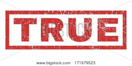 True text rubber seal stamp watermark. Caption inside rectangular banner with grunge design and dust texture. Horizontal vector red ink sign on a white background.