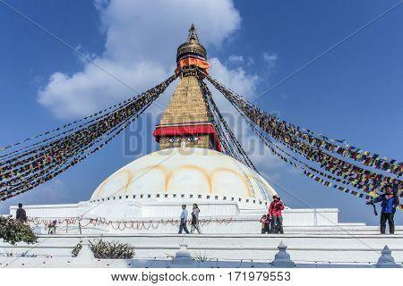 Unidentified Pilgrims Visit The Buddhist Religious Centre Boudhanath Stupa