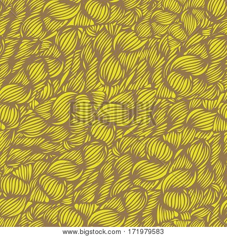 Vector Seamless Wave Doodle Hand Drawn Pattern In Bright Yellow. Can Be Used For Wallpaper, Pattern