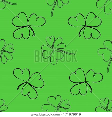 Clover Seamless Pattern. Clover Pattern With Three And Four Leaf. St. Patrick's Day Hand-drawn Doodl