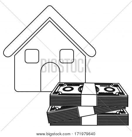 monochrome contour house with many dollars bill stack vector illustration