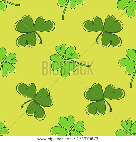 Clover Seamless Pattern. Clover Pattern With Three And Four Leaf Green On Yellow Background. St. Pat
