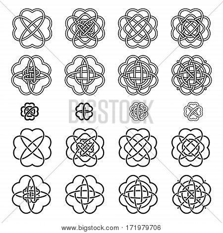 Set Four Leaf Clover Shaped Knot Black Silhouettes On White Background, Celtic Style, Vector Illustr