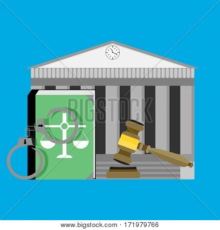 Justice concept courthouse. Law legal punishment and authority constitution book vector illustration