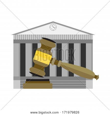 Legitimate decision of court. Government jurisdiction institution authority court. Vector illustration