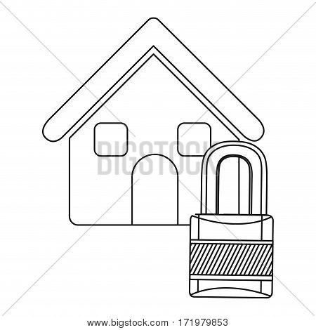 monochrome contour house with padlock vector illustration