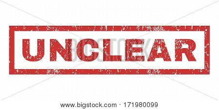 Unclear text rubber seal stamp watermark. Caption inside rectangular shape with grunge design and dust texture. Horizontal vector red ink sign on a white background.