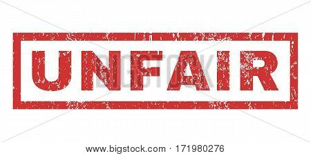 Unfair text rubber seal stamp watermark. Tag inside rectangular shape with grunge design and dust texture. Horizontal vector red ink emblem on a white background.