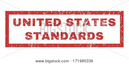 United States Standards text rubber seal stamp watermark. Tag inside rectangular banner with grunge design and scratched texture. Horizontal vector red ink emblem on a white background.