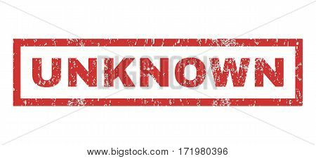 Unknown text rubber seal stamp watermark. Tag inside rectangular shape with grunge design and scratched texture. Horizontal vector red ink sign on a white background.