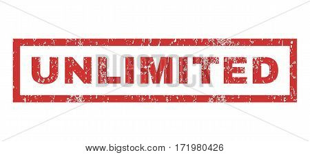 Unlimited text rubber seal stamp watermark. Caption inside rectangular banner with grunge design and dust texture. Horizontal vector red ink sticker on a white background.