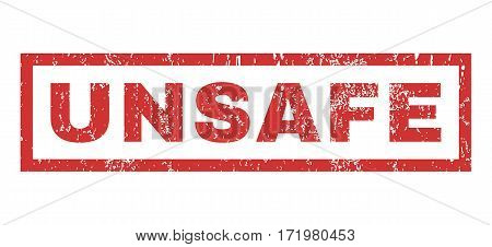 Unsafe text rubber seal stamp watermark. Tag inside rectangular banner with grunge design and dust texture. Horizontal vector red ink sign on a white background.