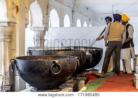 Kitchen Inside The  Harimandir Sahib At The Golden Temple Complex