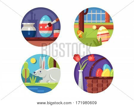 Easter icons collection. Basket with colored eggs and paschal bunny. Vector illustration. Pixel perfect icons size - 128 px