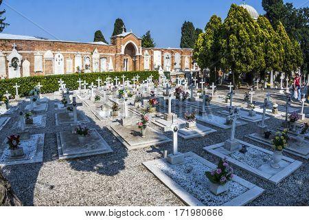 Gravestones At Cemetry Island Of San Michele