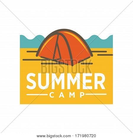 Summer camp advertising logo design. Awning tent realistic vector illustration. Tourist camping tent icon. Hiking pavilion of dome design in orange color. Logotype for campsite company sign