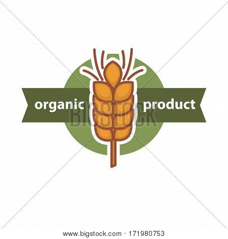 Wheat organic product logo design. Yellow wheat ear in center of round button. Logotype design for healthy food promotion, fresh bread. Stylish baking sticker vector illustration in flat style design