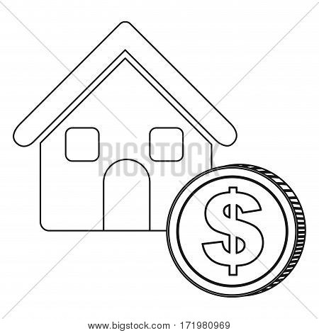 monochrome contour house with icon coin vector illustration