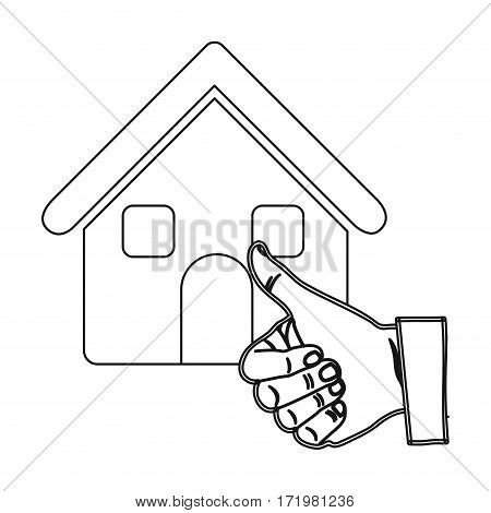 monochrome contour house with hand thumb up vector illustration