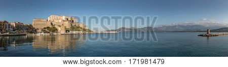 Panoramic View Of Citadel And Harbour Entrance At Calvi Corsica